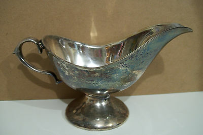 Vintage Silver plated Gravy Boat With Pedestal Base needs to be polished
