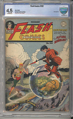 Flash Comics # 102  Hawkman in The Flying Bubbles !  CBCS 4.5 scarce book !