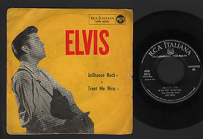 "7"" Elvis Presley Jailhouse Rock / Treat Me Nice 1958 Rca Italiana 45N 0616"