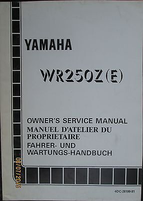 1993 Yamaha WR250Z(E) Motorcycle Factory Owner`s Service Manual Original