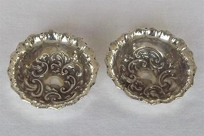 An Exquisite Antique Pair Of Solid Sterling Silver Victorian Trinket Bowls 1897.