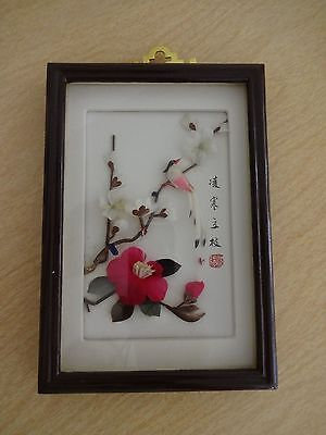 Vtg Chinese 3D Framed Feather Art Signed Birds & Cherry Blossoms 12x18mm in box