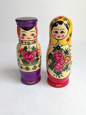 Hand Painted Russian Matryoshka Doll Wooden Salt Pepper Shakers, Never Used!
