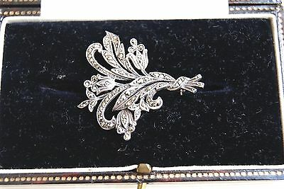 Fine Vintage Art Deco Silver And Marcasite Floral Spray Brooch Pin  4X4 Cm 7.8 G