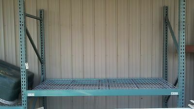 """Used teardrop pallet rack with 92"""" beams and wire shelving"""