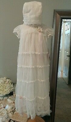 Baby Biscotti Ivory Lace Christening Gown and Bonnet Size 6-9 months