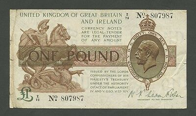 ENGLAND - KGV  Fisher  £1 (series Z) 1919-23  T24  ( Banknotes )