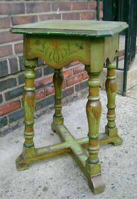 Vintage Antique Painted Wood Table Stand Victorian