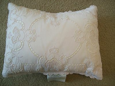 "Simply Shabby Chic Toss Pillow Battenberg Eyelet Lace Crocheted Edge  12 15"" EUC"