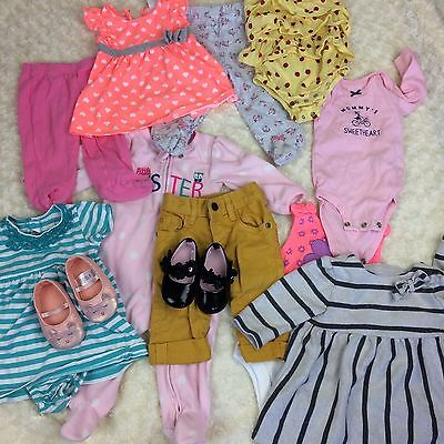 12 Pieces Baby Girl  0 - 6 Months Clothing Lot Assorted Brands All Seasons EUC.