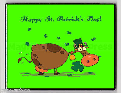 METAL MAGNET St. Patrick's Day Cow Three Leaf Clover Tophat MAGNET X