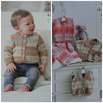 KNITTING PATTERN Baby Cable Cardigans & Waistcoats King Cole DK 4796