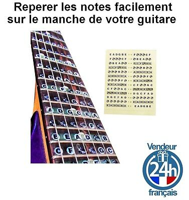 Sticker apprentissage Guitare Corde methode apprendre Debutant Fender Gibson