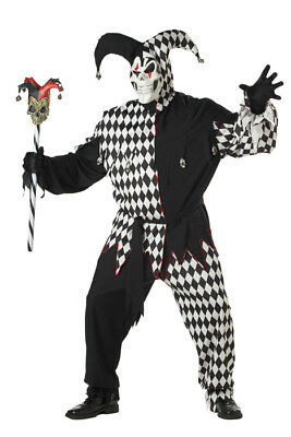 Brand New Plus Size Evil Jester Clown Adult Halloween Costume
