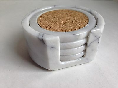 "White Marble 3.5""Coaster Set w/Holder, Cork Inlay, Velvet Backing, Barware"