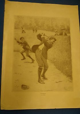 "Antique A.b. Frost ""temper"" Golf Golfer 1904 Poster Print Art Golfball"