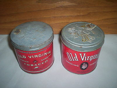 2 Vintage Old Virginia Choice Smoking Tobacco Cans Tins Lot 2 Different Versions