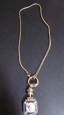 Antique Knights of Pythias Gold Filled Articulated Pocket Watch Fob  & Chain
