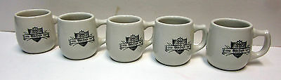 Set of 5, vintage WHITE CASTLE Coffee Mugs with Ashtray Bottoms