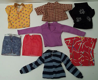 Assorted And Mixed Lot Of Doll Clothes Medium Long & Short Sleeve Shirts Skirts