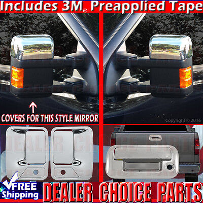 1999-2007 FORD F250-F550 SUPERDUTY Chrome Door Handle COVERS 4dr 2KH+Tailgate wK