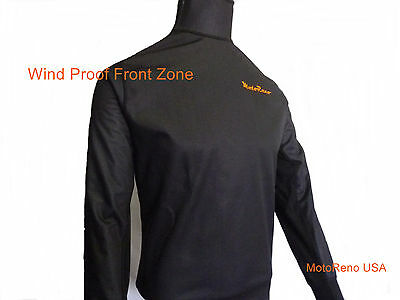 Cold Weather Under/Mid Layer Base Wind Proof Front Panel Motorcycle Shirt Medium