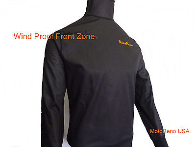 Cold Weather Under/Mid Layer Base Wind Proof Front Panel Motorcycle Shirt XXL