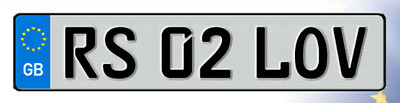 RS02 LOV Cherished Reg Number Plate LOVE PORSCHE AUDI RS4 RS6 RS LAMBO FAST LOW