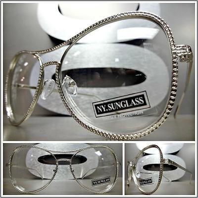 CLASSIC VINTAGE RETRO Style Clear Lens EYE GLASSES Silver Metal Fashion Frame