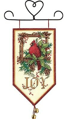 """Dimensions Counted Cross Stitch kit 5"""" x 10"""" ~ CARDINAL JOY BANNER #08822 Sale"""