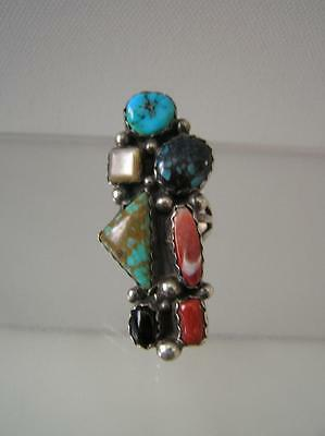 NATIVE AMERICAN STERLING Turquoise CORAL RING SIGNED ROBERT SHAKEY JR. Navajo
