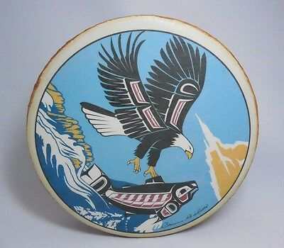 "Native Haida Clarence Wells Signed 10"" Eagle & Salmon Hand Drum Pacific NW"