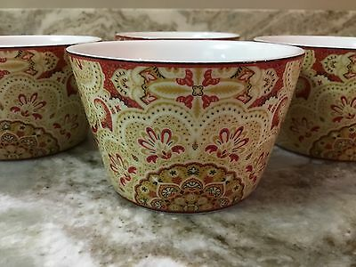 222 Fifth Lyria Saffron Dessert Bowls. Set Of 4. Beautiful. Porcelain. New