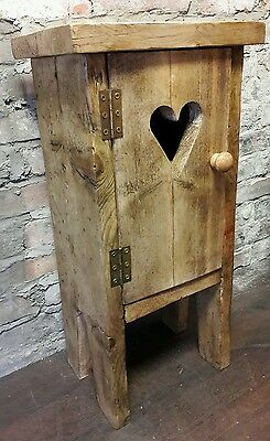 Rustic handmade wooden side table bedside  cupboard pot stand