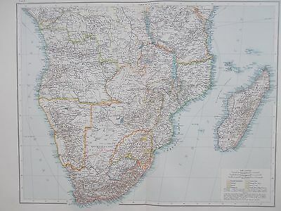 Map of Southern Africa. 1895. Times Atlas. Original. 'South of Equator'