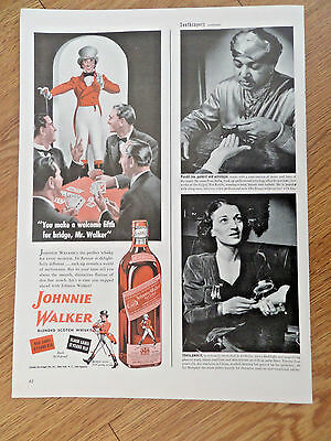 1943 Johnnie Walker Scotch Whiskey Ad Welcome 5th for Bridge