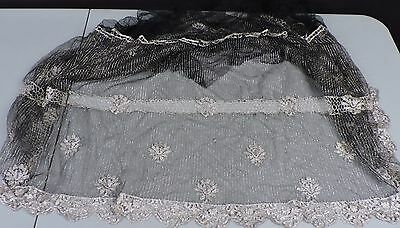 1920'S Full Flapper Dress Skirt Of Silver Lame With Florals