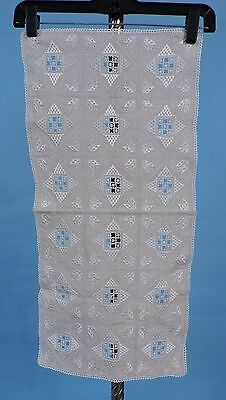 Antique Hand Embroidered Linen Runner Cloth Never Used