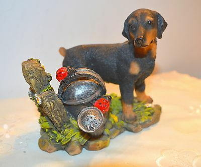 Dog Figurine Young Doberman Pinscher With Natural Uncropped Ears & Bobbed Tail