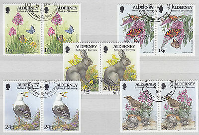 Alderney 1994-7 Flora and Fauna Booklet Pairs F Used 16p, 18p, 20p, 24p, & 25p.