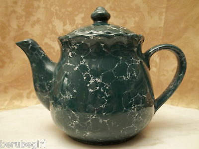Vintage Unknown Maker Green Marble Teapot In Excellent Condition