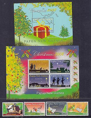Papua New Guinea: 2008 Christmas set of 4 + 2 x miniature sheets.MUH.Going cheap