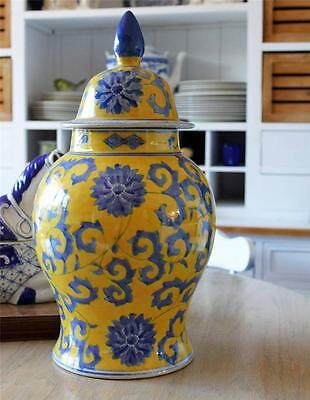 Vintage Hamptons blue yellow Asian Vase Ginger Pot Lidded LARGE 44cms Porcelain
