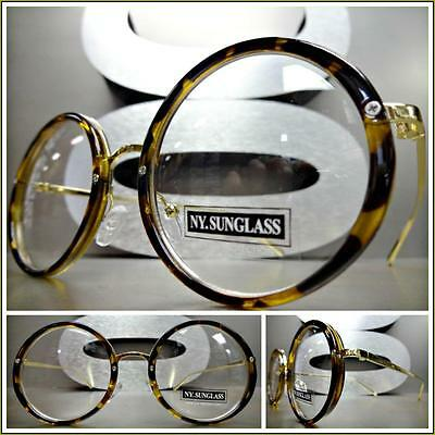 CLASSIC VINTAGE RETRO Style Clear Lens EYE GLASSES Round Tortoise & Gold Frame