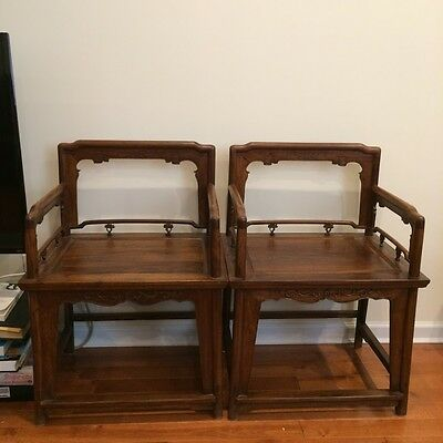 Chinese pair of Ming style Rosewood chair.