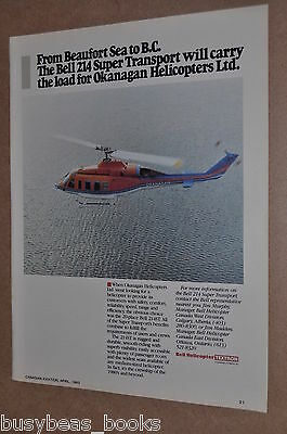 1983 Bell Helicopter advertisement, Bell 214, Okanagan Helicopters