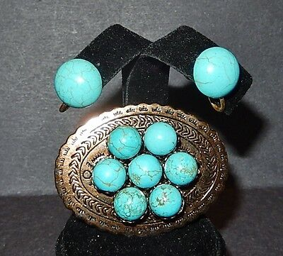 Vintage Copper-Tone Faux Turquoise Scarf Pin/Brooch With Screw-Back Earrings