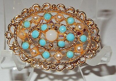 Vintage Gold-Tone Faux Turquoise And Pearl Bead Pin Brooch