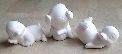 Three Cute Penguins -Ready To Paint Bisque