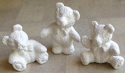 Three Cute Bears  -Ready To Paint Bisque